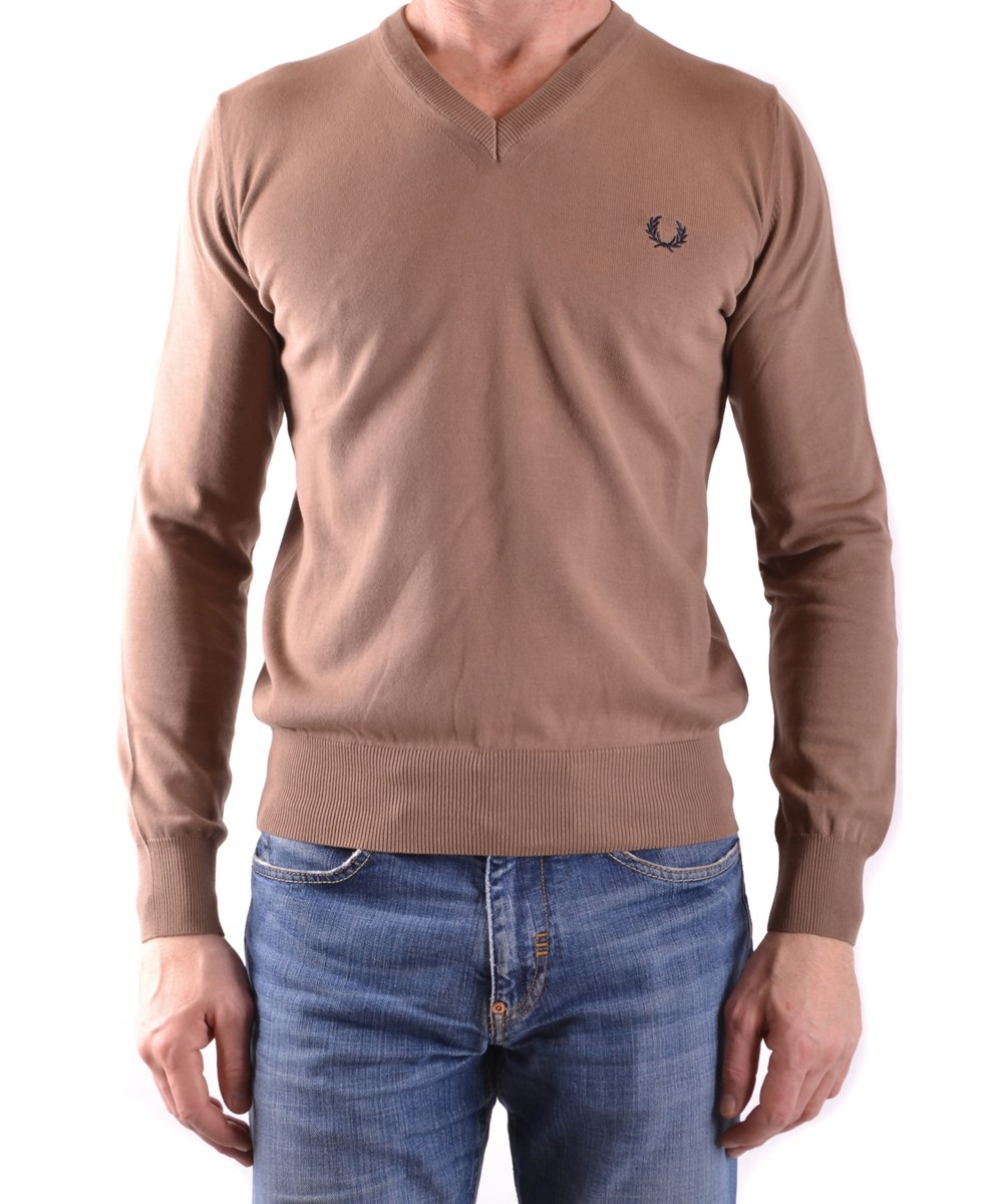FRED PERRY Men'S  Beige Cotton Sweater' in Brown