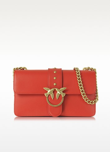 PINKO Love Simply Red Leather Shoulder Bag W/Golden Chain