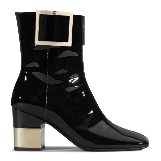 70Mm Podium Patent Leather Ankle Boots in Black