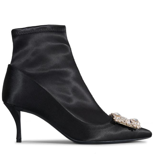 Flower Strass Crystal-Embellished Silk-Satin Sock Boots in Black from Roger Vivier