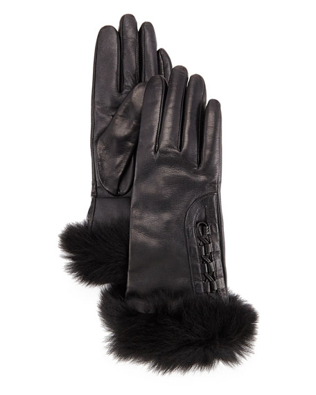UGG Analise Leather Gloves W/Fur Trim, Black