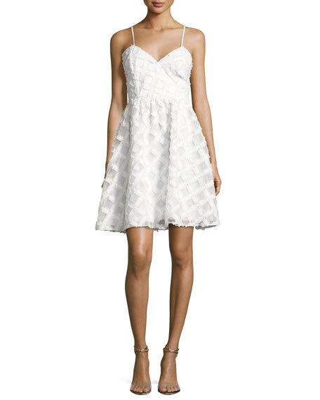 ZAC ZAC POSEN Viola Sleeveless Textured Cocktail Dress, White