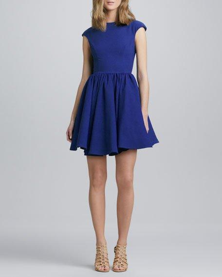 CAMEO Flared Cap-Sleeve Dress, Cobalt Blue in Bright Blue