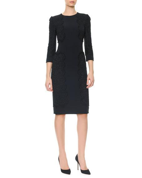 DOLCE & GABBANA 3/4-Sleeve Cady Dress With Appliqués, Black