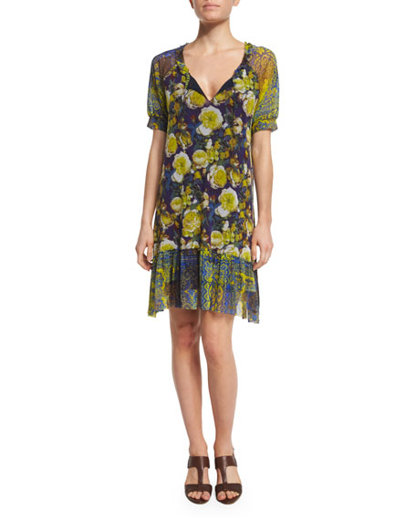 FUZZI FLORAL-PRINT T-SHIRT DRESS, CAMOMILLA