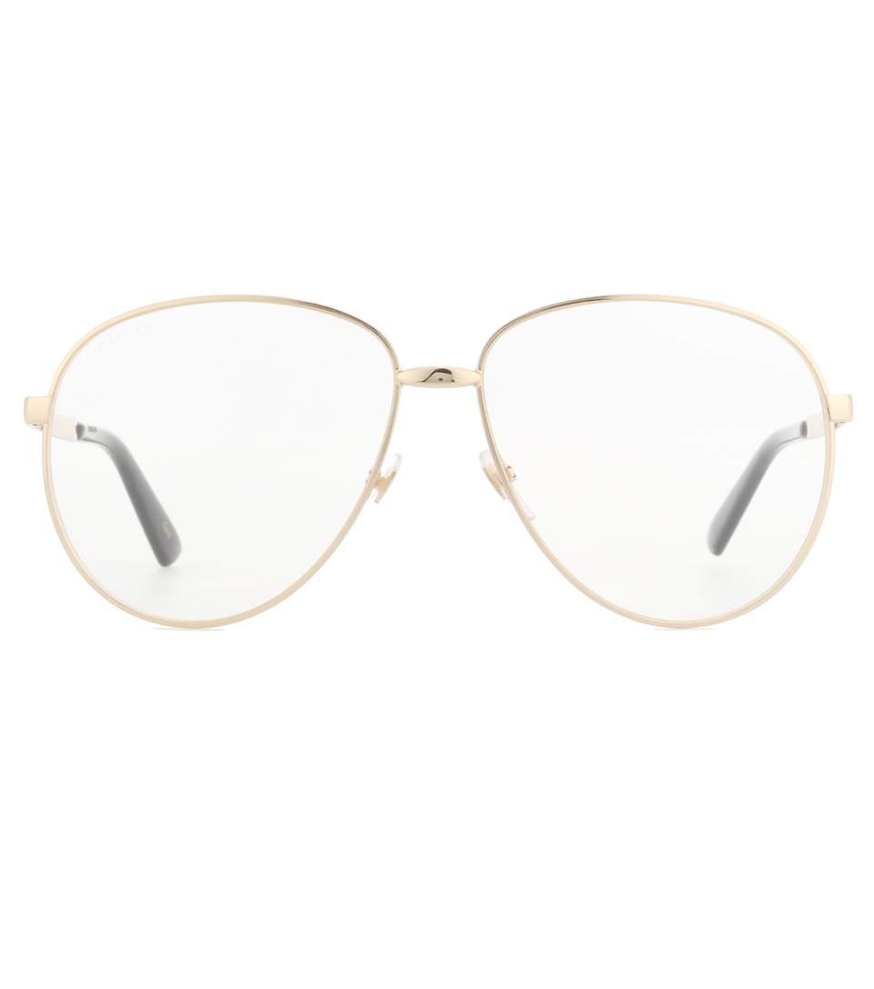 Web Stripe Temples Metal Aviator Optical Glasses, Gold