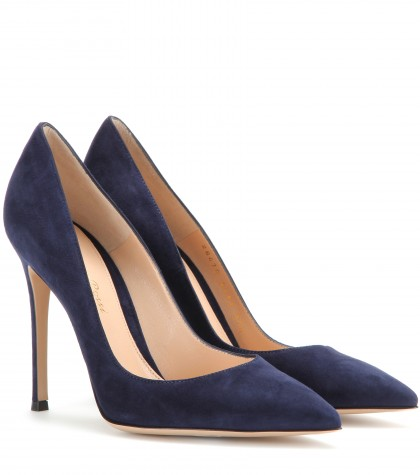 Ellipsis High-Back Suede Point Toe Pumps in Midnight Blue