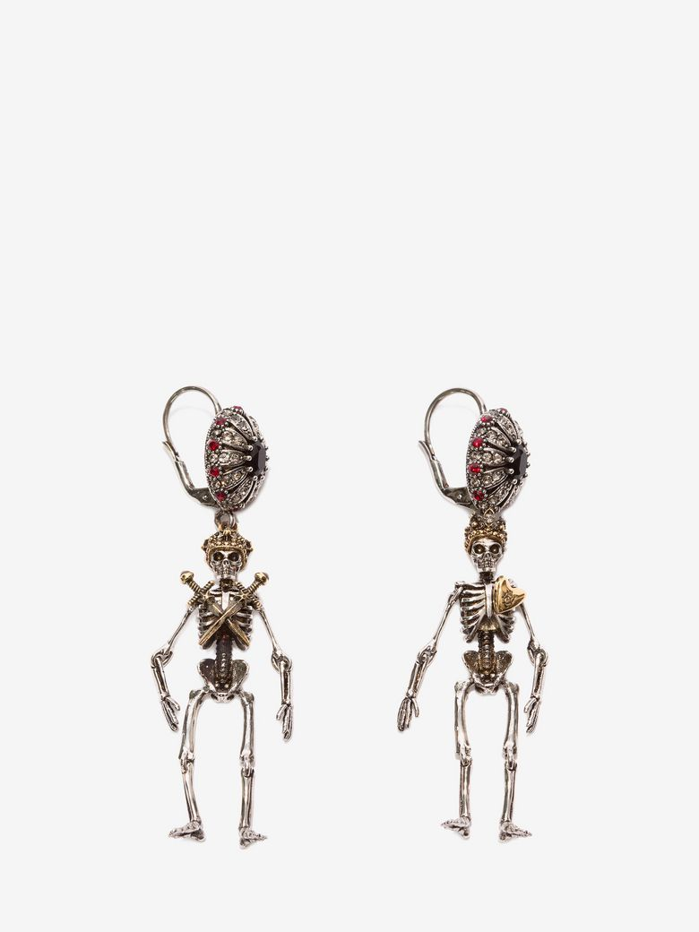 King And Queen Skeleton Earrings, Gold, One Size in Metallic