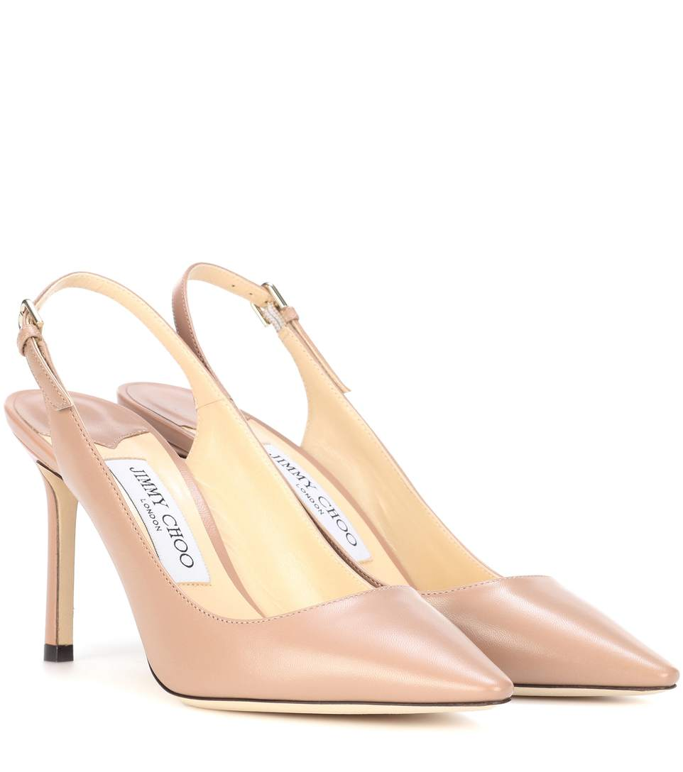 Erin 85 Leather Slingback Pumps, Neutrals