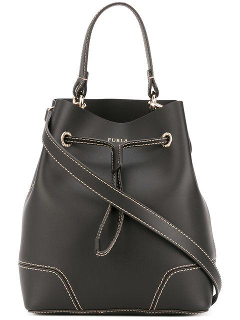 Mini Stacy Leather Drawstring Crossbody Bucket Bag, Black