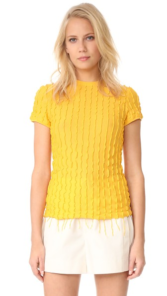 HELMUT LANG Ruffled Fitted Baby Tee, Yellow in Flame