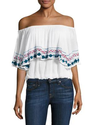 PIPER Byron Off-The-Shoulder Top in White