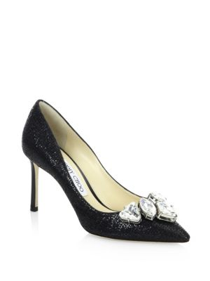 Marvel 85 Black Suede Pointy Toe Pumps With Crystal Piece, Black Crystal