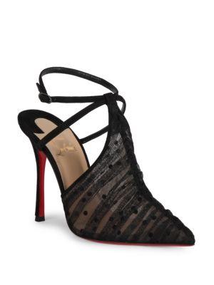 Acide Lace 100 Tulle Ankle-Strap Pumps, Version Black