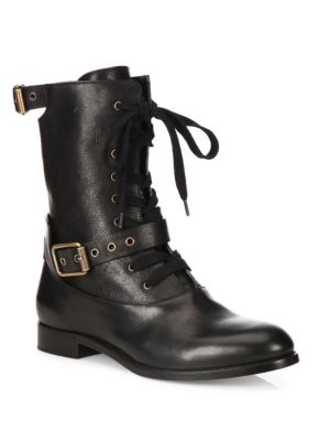 Otto Lace-Up Buckle Ankle Boot, Black