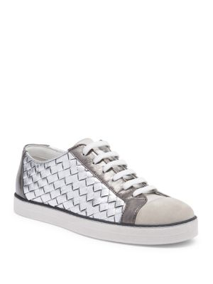 Suede-trimmed Metallic Textured And Intrecciato Leather Sneakers - Silver Bottega Veneta XENnTd8r