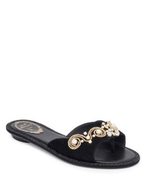 RENÉ CAOVILLA Strass Faux Pearl Embellished Suede Slide Sandals in Black