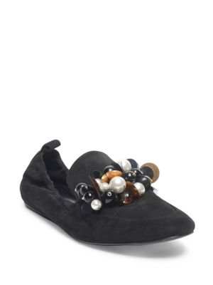 Pearl Embellished Loafers in Black