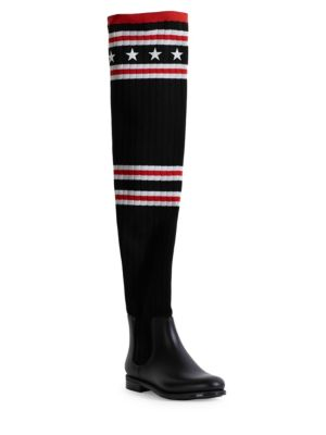 Storm Rubber And Ribbed-Knit Thigh Sock Boots, Black Red