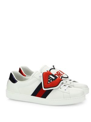 Men'S New Ace Sneakers With Removable Embroideries, White