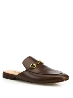 Kings Backless Leather Loafers, Brown Leather