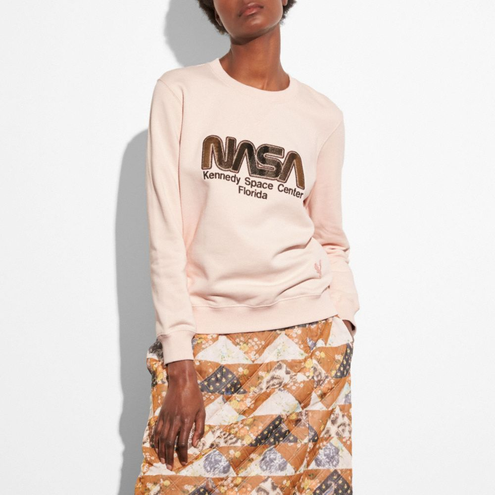 Space Embroidered Cotton Sweatshirt, Pale Pink