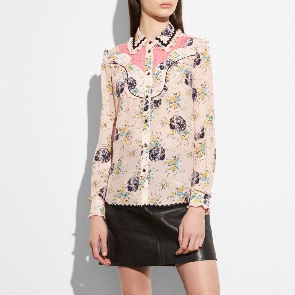 Printed Crepe De Chine & Lace Shirt, Pale Pink Multi