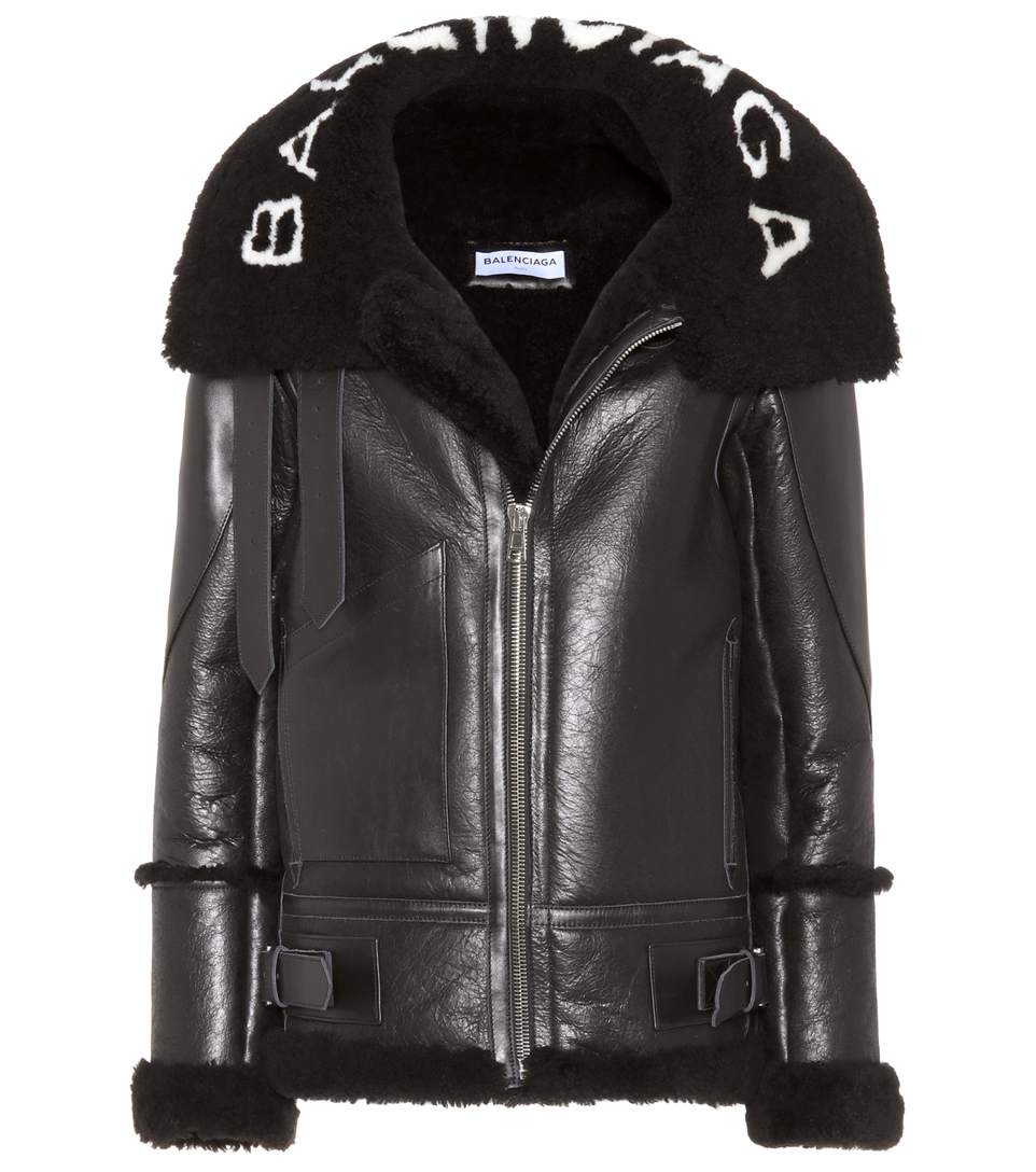 Le Bombardier Leather Jacket With Shearling, Black