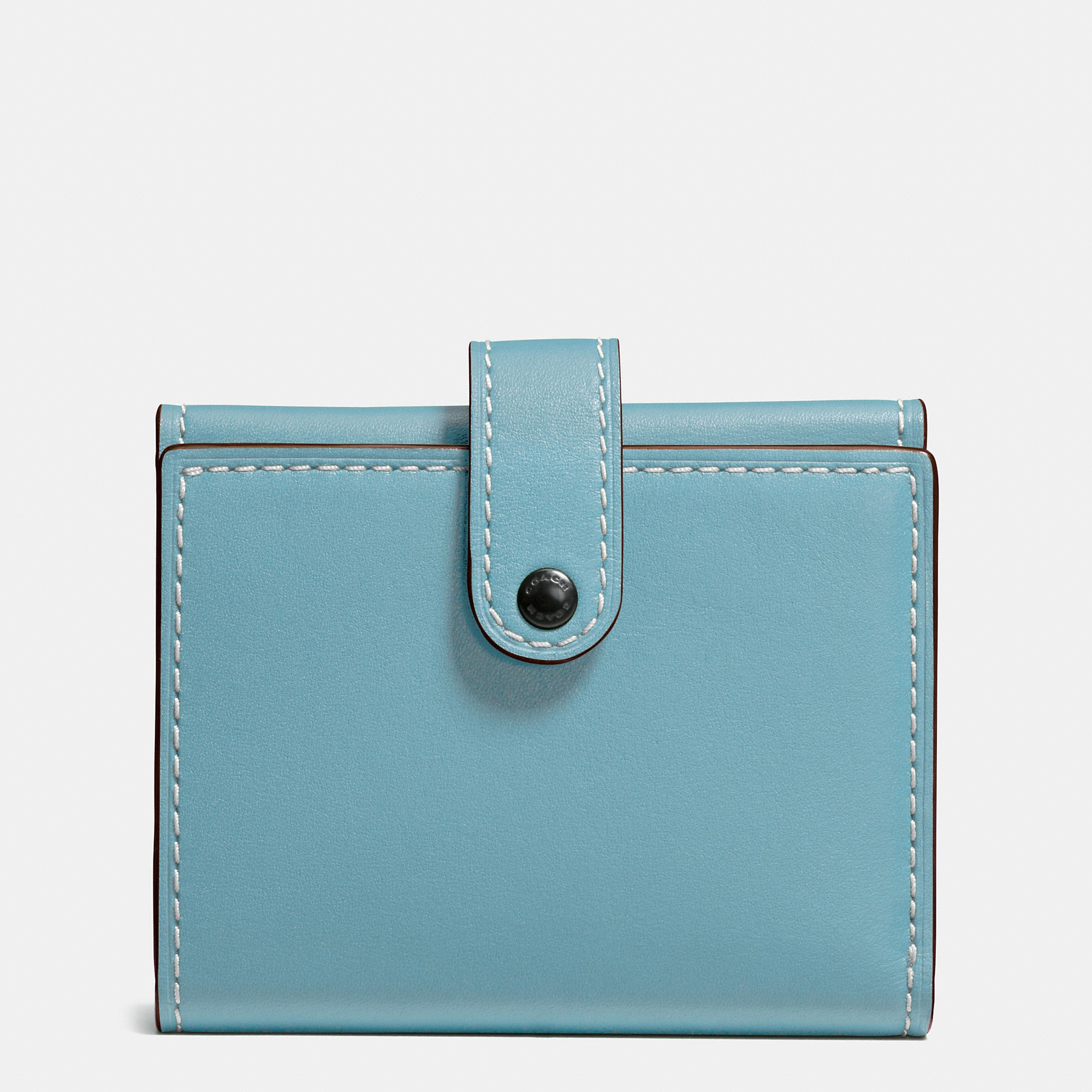 b7ac320d9816e ... new zealand coach small trifold wallet in glovetanned leather in light  antique nickel steel blue 228b9