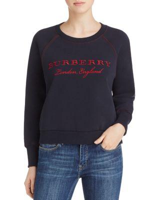 Embroidered Cotton Blend Jersey Sweatshirt, Navy