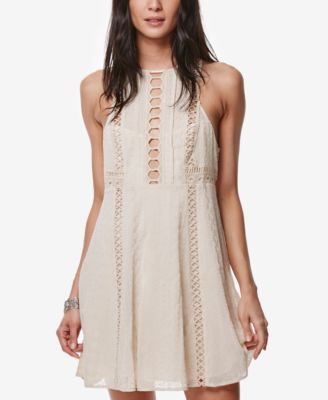 FREE PEOPLE WHEREVER YOU GO CROCHETED MINI DRESS, WHITE