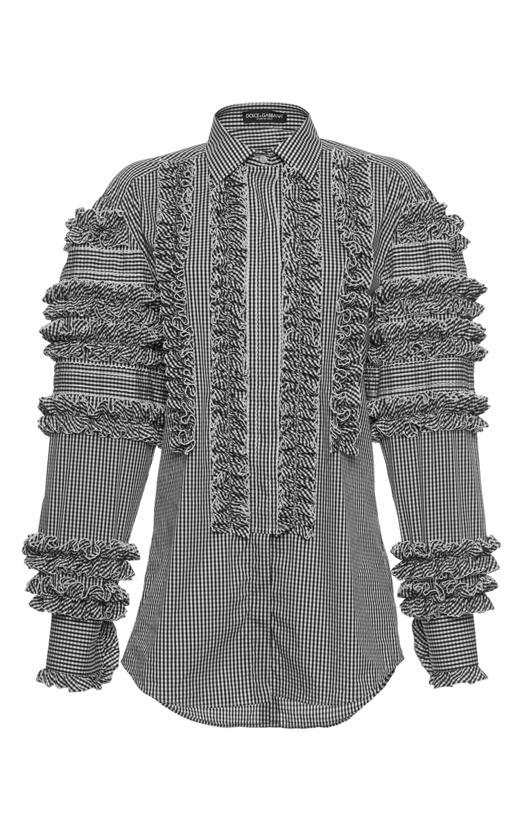 Dolce & Gabbana Cotton Shirt With Ruche Details, Gingham Print