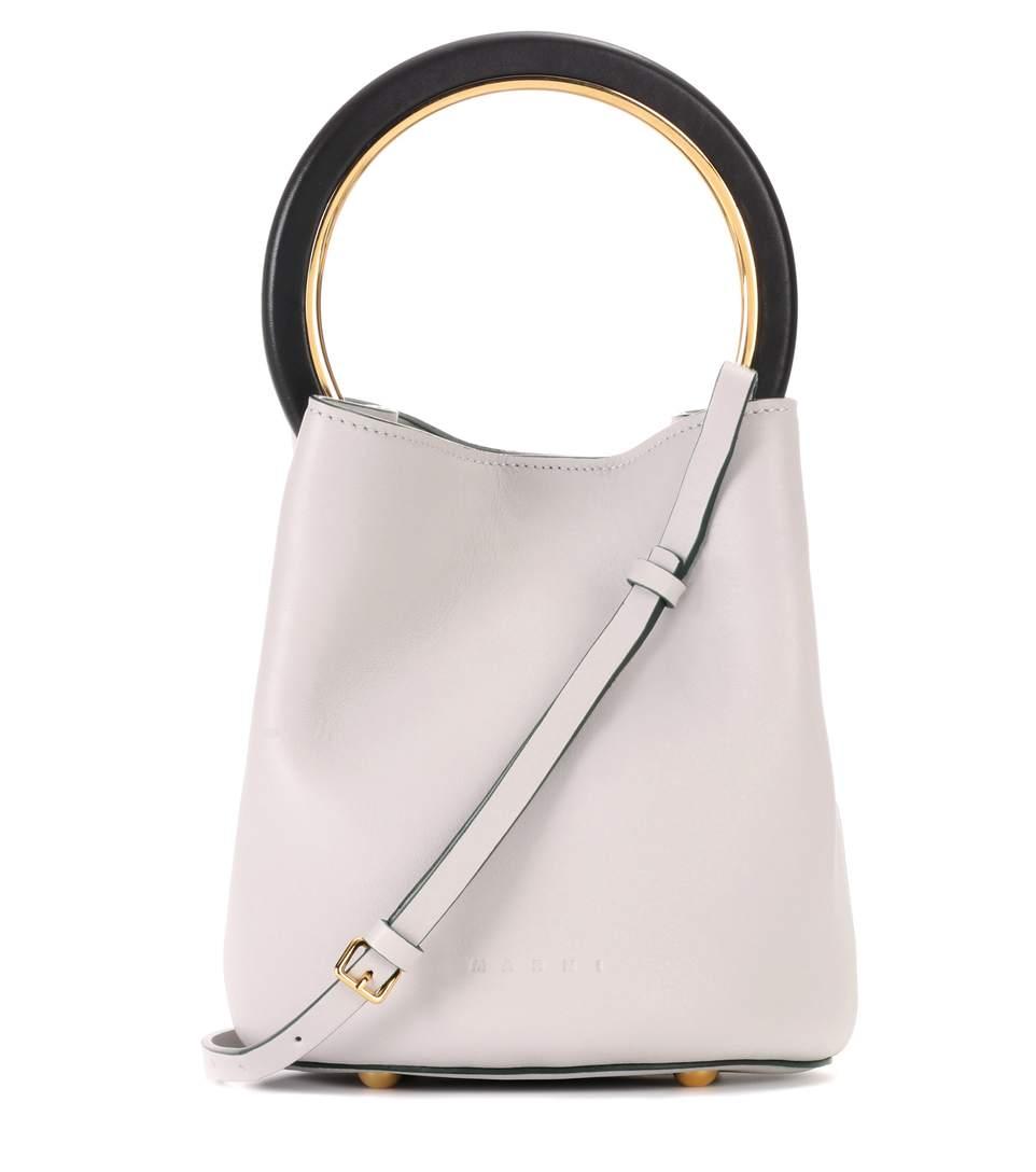 Pannier Leather Bucket Bag in Grey