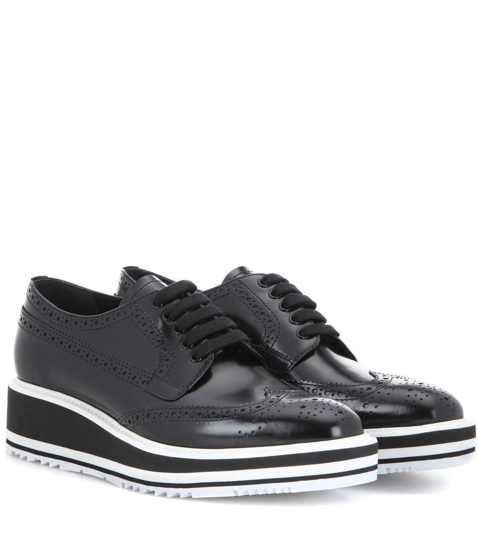 Wingtip Leather Platform Brogues, Black