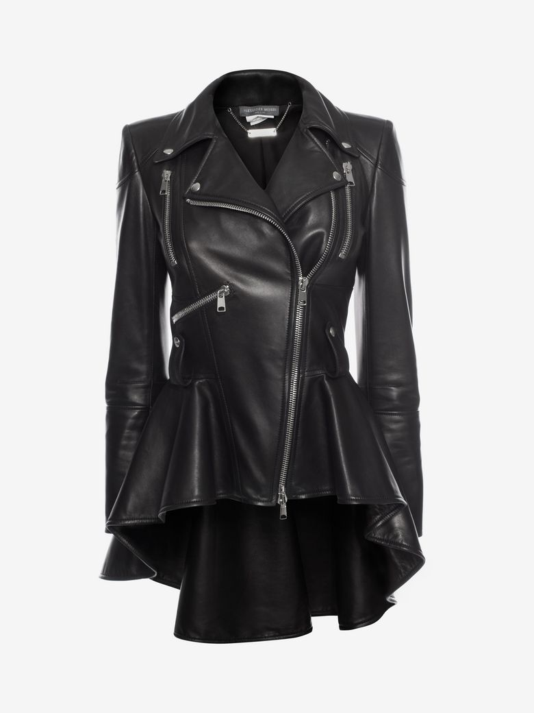 Zip-Front Peplum Leather Moto Jacket, Black
