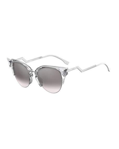 Fendi Crystal 52Mm Tipped Cat Eye Sunglasses - Crystal/ Palladium, Gray