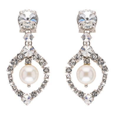 Earrings With Pearl And Crystals, Silver