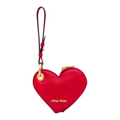 Madras Leather Heart Coin Purse Trick, Fire Engine Red