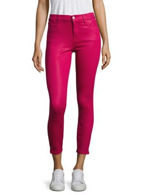 Alana Coated High-Rise Cropped Skinny Jeans/Dizzy Pink in Coated Dizzy Pink