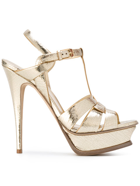 Tribute Metallic Leather Platform Sandals in Yellow