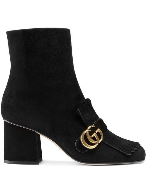 Marmont Fringed Logo-Embellished Suede Ankle Boots in Black