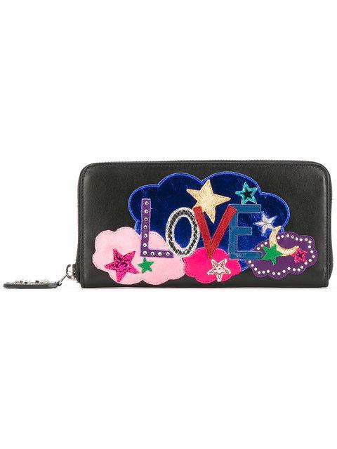 Saint Laurent Love Embroidered Wallet - Black
