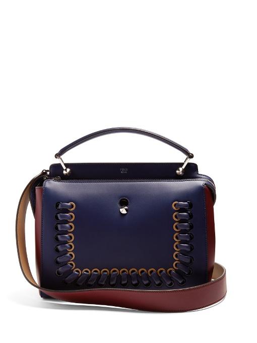 Dotcom Bi-Colour Whipstitch Leather Bag in Blue