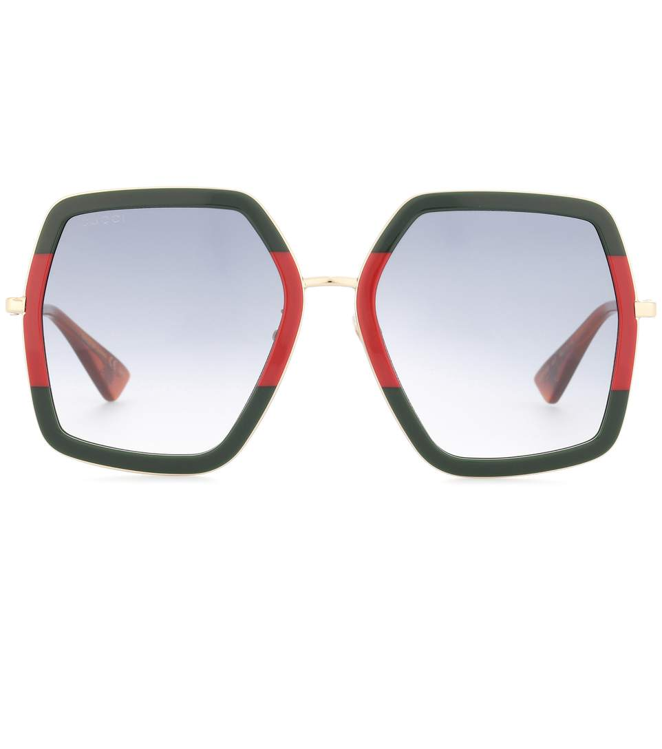 green and red square frame acetate sunglasses Gucci