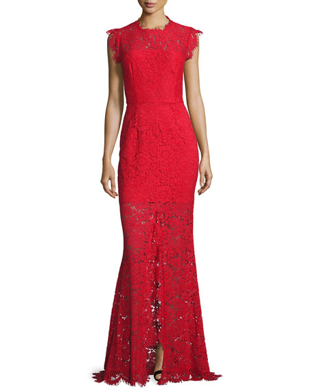 RACHEL ZOE Sleeveless Floral Lace Column Gown, Rogue in Red
