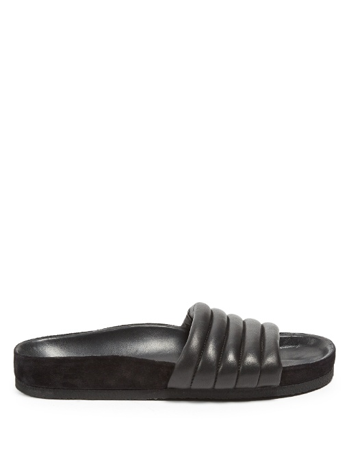 20Mm Hellea Padded Leather Slide Flats, Black