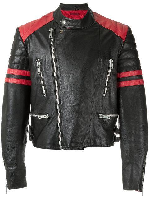 À LA GARÇONNE À La Garçonne Hand-Painted Biker Jacket - Black