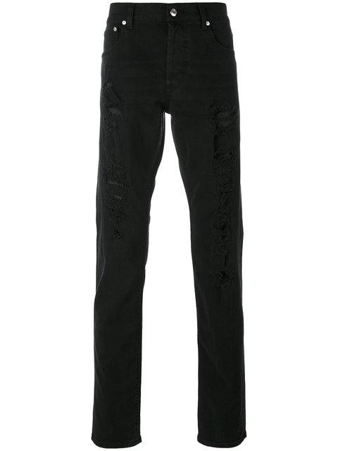 Antracite Shredded Slim-Fit Jeans in Black
