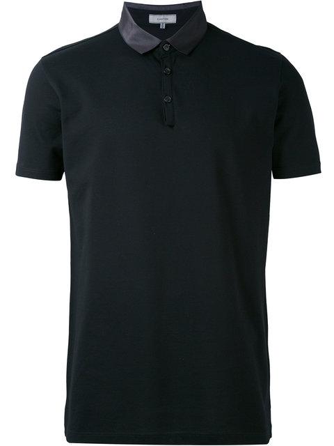 Contrasting-Collar Cotton-Piqué Polo Shirt in Blue