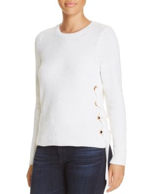 f4db9903abd MICHAEL MICHAEL KORS Ribbed Cotton Lace-Up Sweater